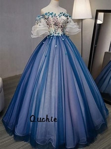 Royal Blue Ball Gown Evening Dress Off Shoulder Real Picture Special Occasion robe soiree Islamic Dubai Kaftan Saudi Arabic Prom