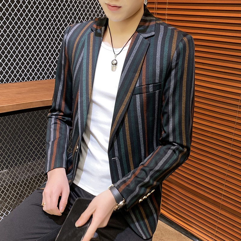 2020 Men's Colorful Striped Suit Young Vertical Striped Handsome Casual blazers