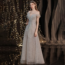 Sequins A-Line Evening Dress Boat Neck Empire Appliques Elegant Short Sleeves Floor-Length Lace Up W