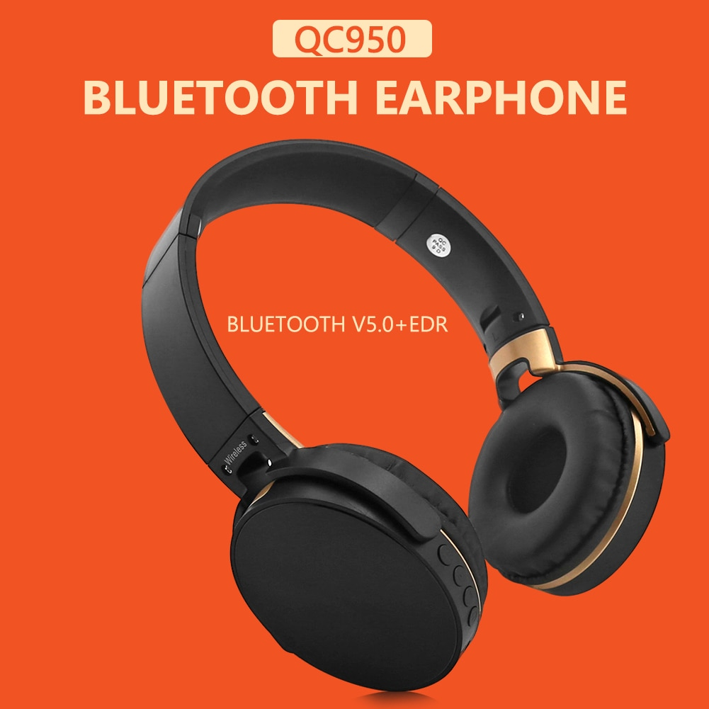 ALLOYSEED QC950 Foldable Bluetooth V5.0+EDR Bluetooth Headphones On Ear Wireless Wired Stereo Headse