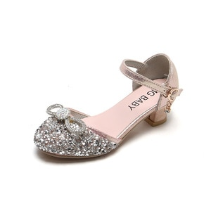Girls Crystal Shoes High Heeled Kids Heels Shoes Bling Shiny Children Glitter Leather Shoes with Bowtie Rhinestone Princess Chic