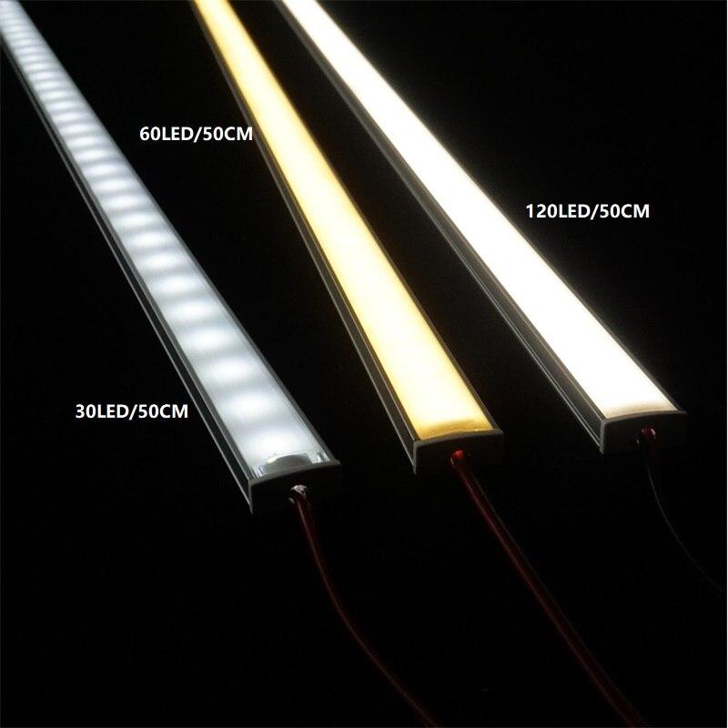 5 unids/lote 12VDC 20 pulgadas LED Barra de gabinete de luz 2835 60 120/240 led por Metro de U perfil tira dura de led 2W/6W/9W diodo invisible