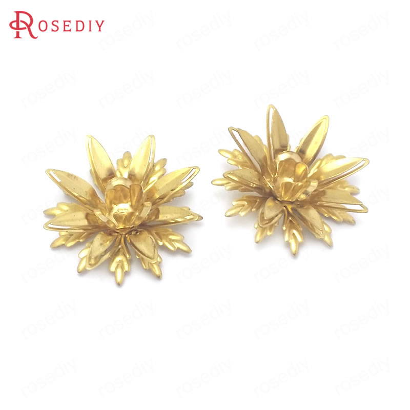 AliExpress - (38501)10PCS 23MM Height 8MM Not plated color Brass 3D Multi-layer Flower Jewelry Making Supplies Diy Findings Accessories