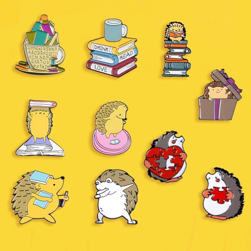 Cute Cartoon Hedgehog Brooch Creative Book Cup Stitching Heart Metal Badge Pin For Kids Costume Backpack Jewelry Gift