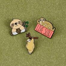 Cute Sloth Koala Zoo Enamel Pin Lazy Animal Family Happy Life Brooches Cartoon Metal Badges for Kids Friend Clothes Lapel pin