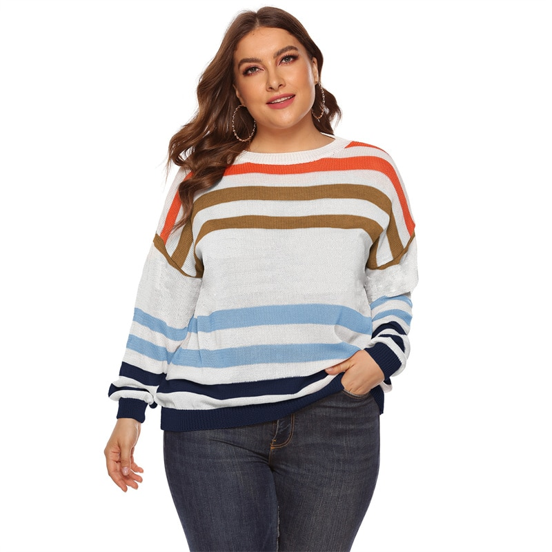 Fioncrow Striped Sweater Plus Size Pullover Casual Round Neck Y2k Women's Jumper 2021 One Piece Autumn Clothes Korea Ladies
