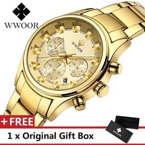 WWOOR Men Watch Top Luxury Brand Sport Watches Mens Quartz Wristwatch Male Clock Relogio Masculino WR8857-Gold