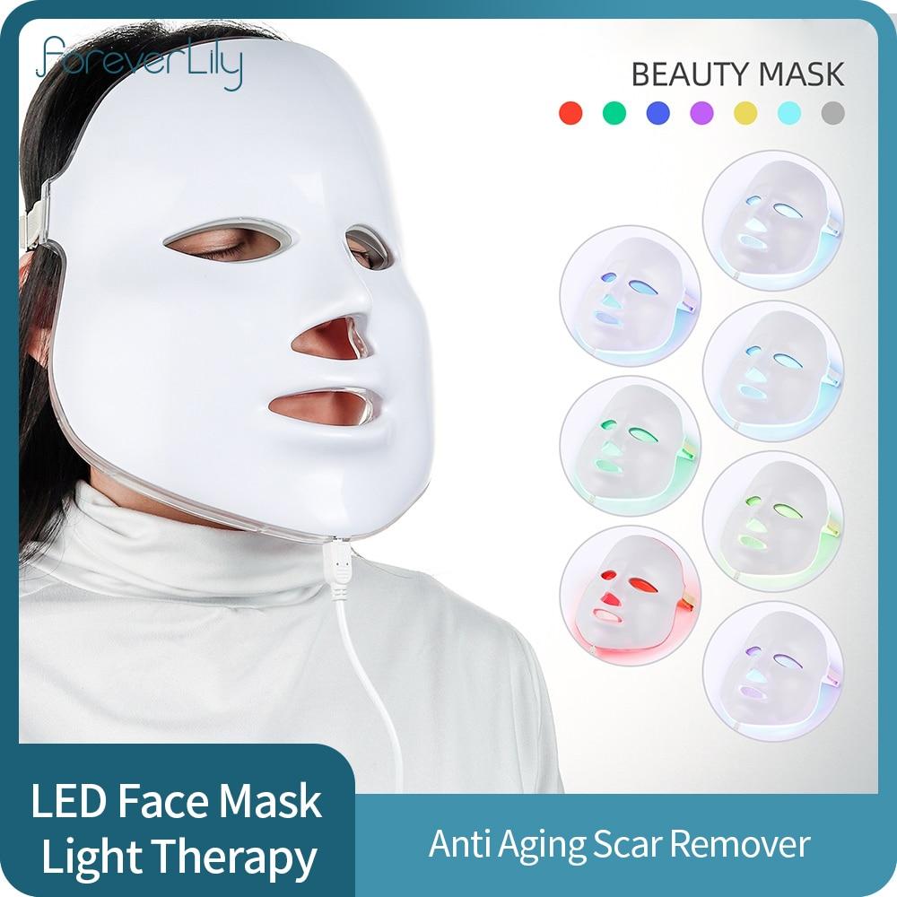الجمال الفوتون LED قناع الوجه العلاج 7 ألوان ضوء العناية بالبشرة تجديد التجاعيد مزيل حب الشباب الكورية قناع الوجه Led