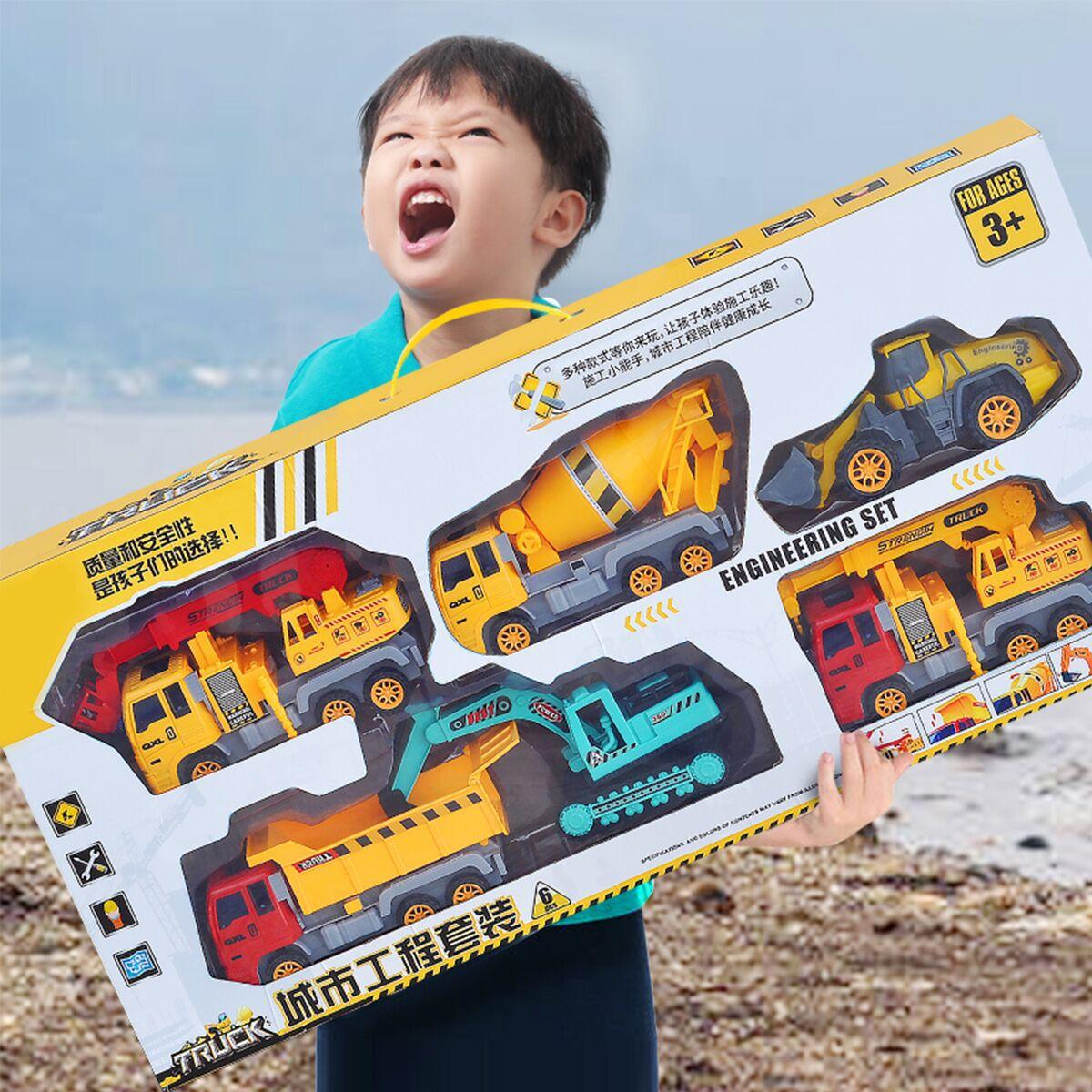 Модель автомобиля Детская 4 шт., инерционная техника, бульдозер, самосвал, трактор, транспортное средство, учебный подарок для мальчиков