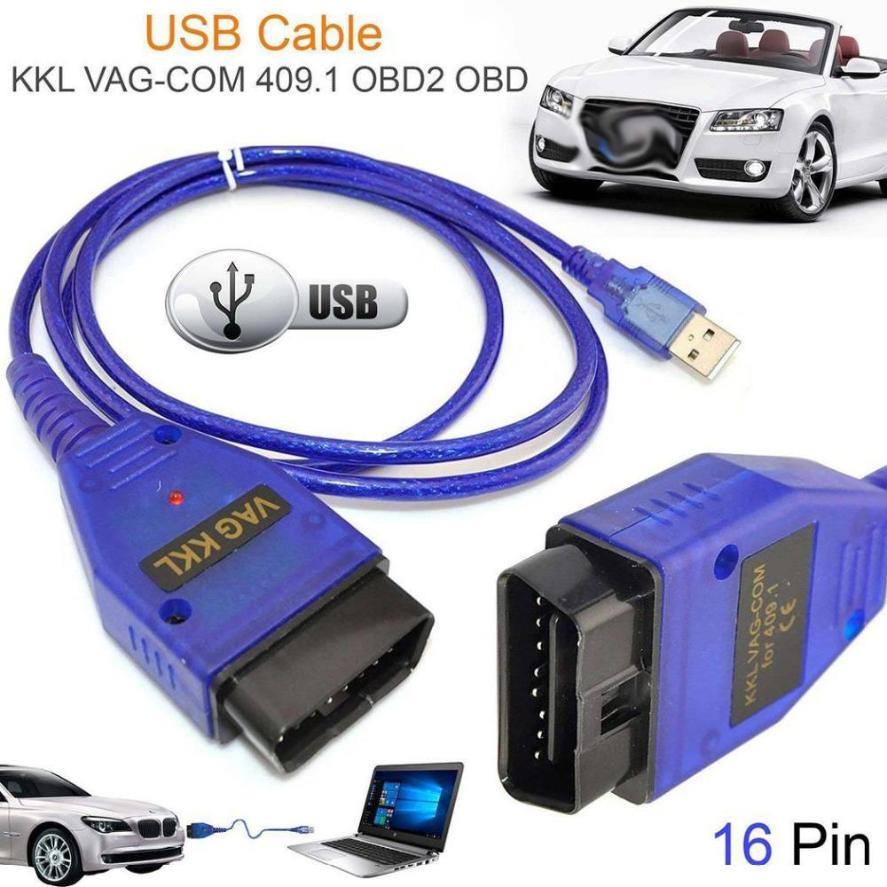 OBD2 USB Vag-Com Interface Cable KKL VAG-COM 409.1 OBD2 II OBD Diagnostic Scanner Auto Cable Aux USB Vag-Com interface cable недорого