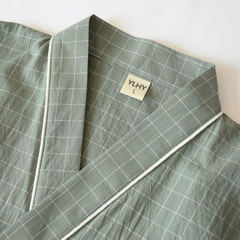В японском стиле кимоно% 2C хлопок марля% 2C весна и осень мужские% 27 клетка ночная рубашка из двух частей домашний сервис юката шнуровка пижама комплект