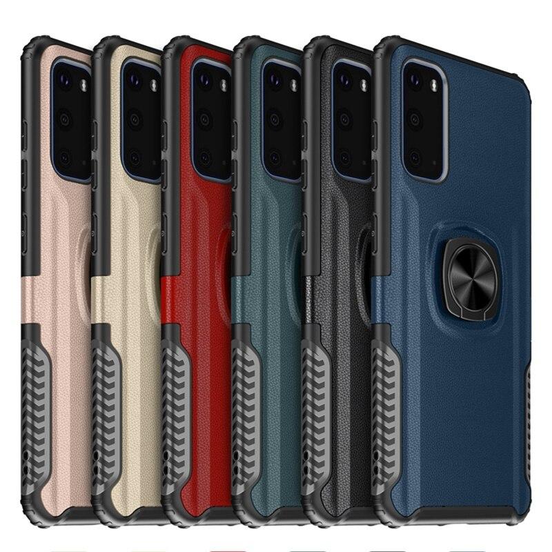 Funda para Samsung Galaxy S20 Ultra S8 S9 S10 Plus Note 10 Plus Note 9 8 S10E cuero a prueba de golpes anillo soporte funda magnética
