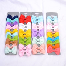 10 PCS/Set Solid Grosgrain Ribbon Hair Bows With Clips Girls Small Bow For Children Kid Headwear DIY