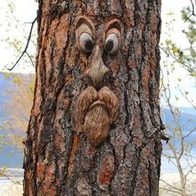 Funny Outdoor Tree Bark Ghost Face Facial Features Decoration Creative Party Props Funny Face Shaped