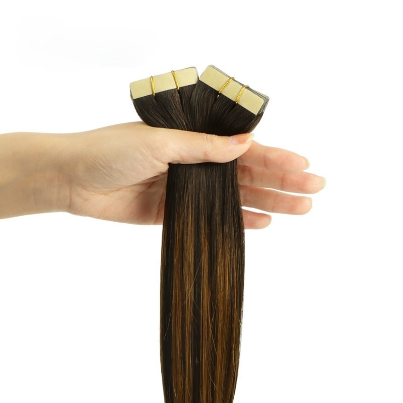 20Pcs Tape in Human Hair Extensions Remy Straight Tape in Extensions Skin Weft Adhesive 24inch Invisible Blonde Brown Black 50g