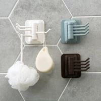 3 color rotatable self adhesive abs hook punch free wall door clothing hanging holder kitchen bathroom storage sticky rack