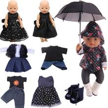 Doll Clothes Accessories Black Skirt Umbrella Socks For 18 Inch American Doll Girls & 43 Cm New Born