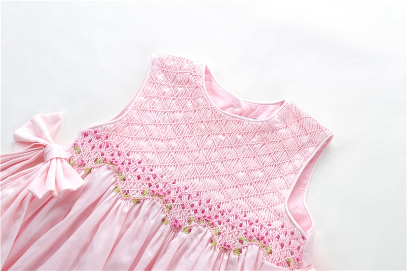 Summer smocked baby girls dresses pink white hand made boutiques kids clothing enlarge