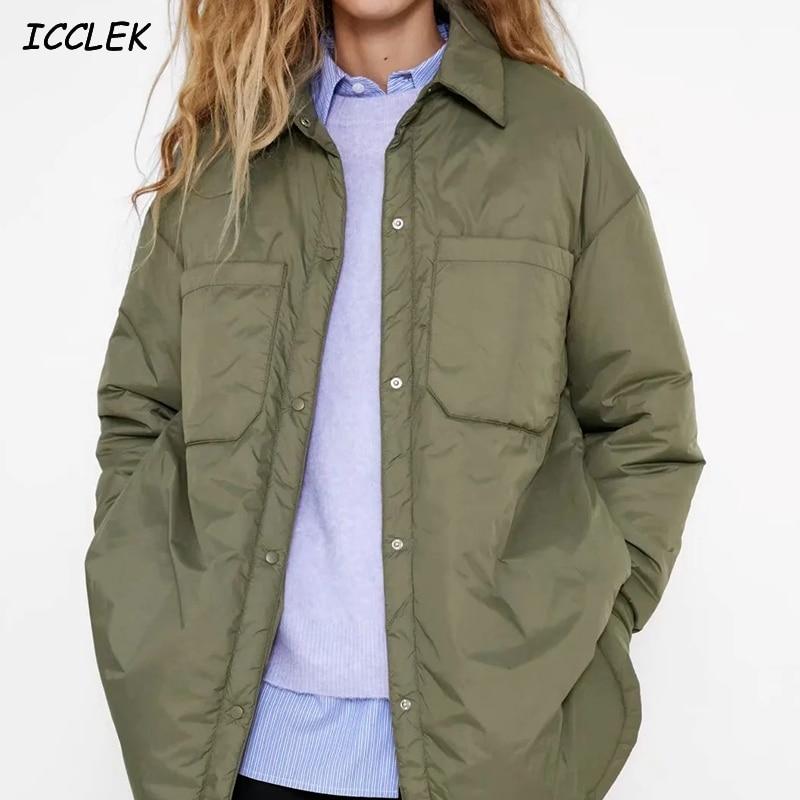 Women's Shirts Jackets Thin Parka Oversize Shirt Coats Femme Armygreen Outerwear Coats Bf Long Sleev