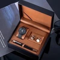 man watch gift 3pcs set with high quality box fashion quartz wristwatch vintage mens clock cufflinks pen mens set for mens gift