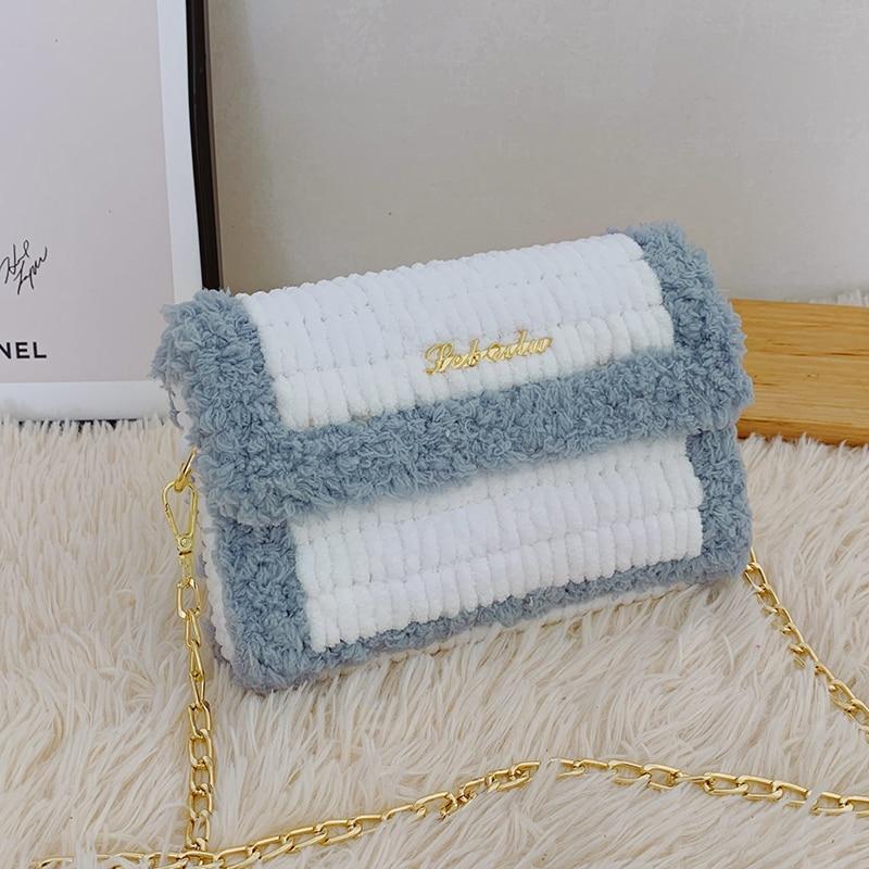Hand-Woven Bag DIY Material Package Wool Ice Bar Small Square Bag Trending on TikTok Homemade Gift c