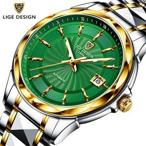 LIGE 2020 New Men Mechanical Wristwatch Stainless Steel 100ATM Waterproof Watch Top Brand Luxury Sports Men Watches Reloj Hombre