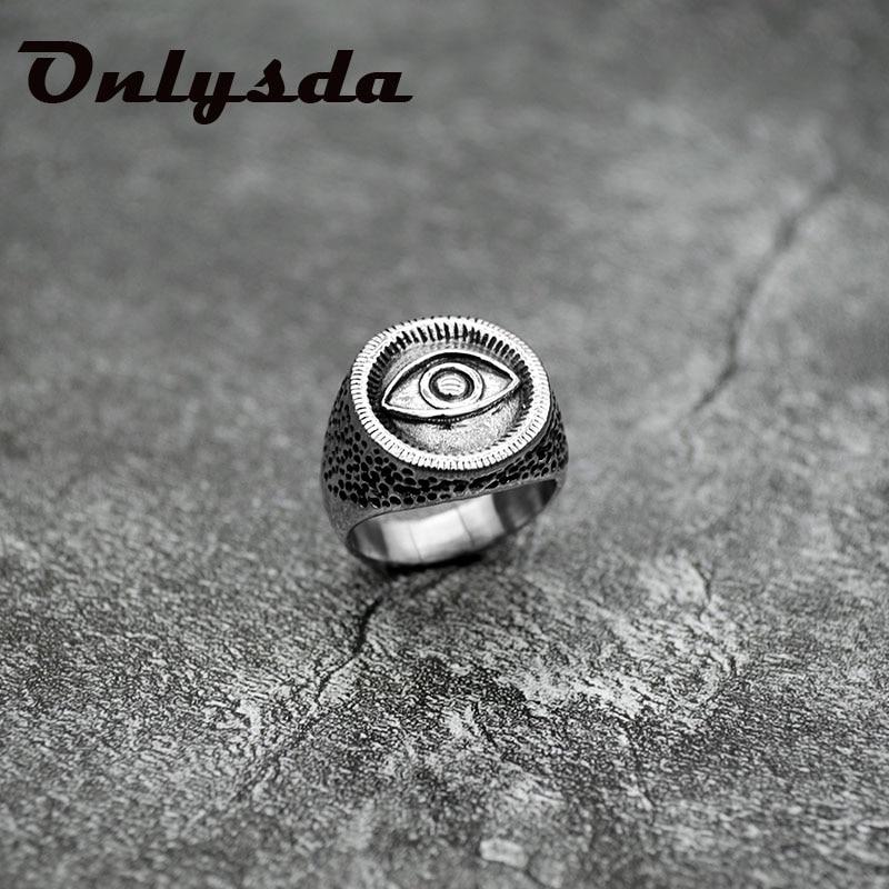 Retro olho de horus rune amuleto biker anéis dos homens ankh cruz prata cor 316l aço inoxidável anel egito jóias homem presente osr450