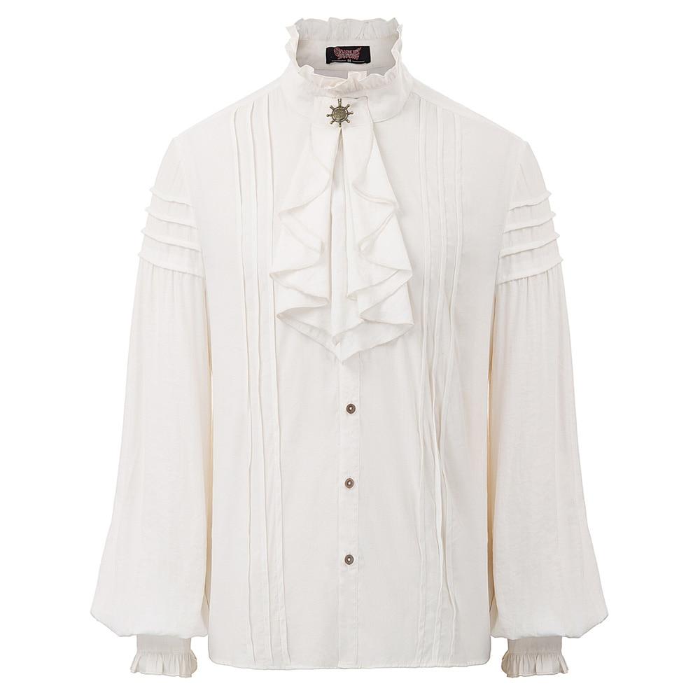 Men Shirt Retro gentleman Victorian Renaissance Elegant Tops Long Sleeve Vintage Mens long-sleeved stand-up collar