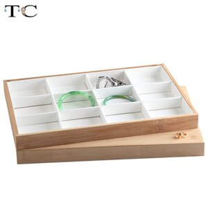 Bamboo Wood Jewelry Display Tray Rings Earrings Pendant Necklace Bracelet Storage Tray 12/24/30 Grids
