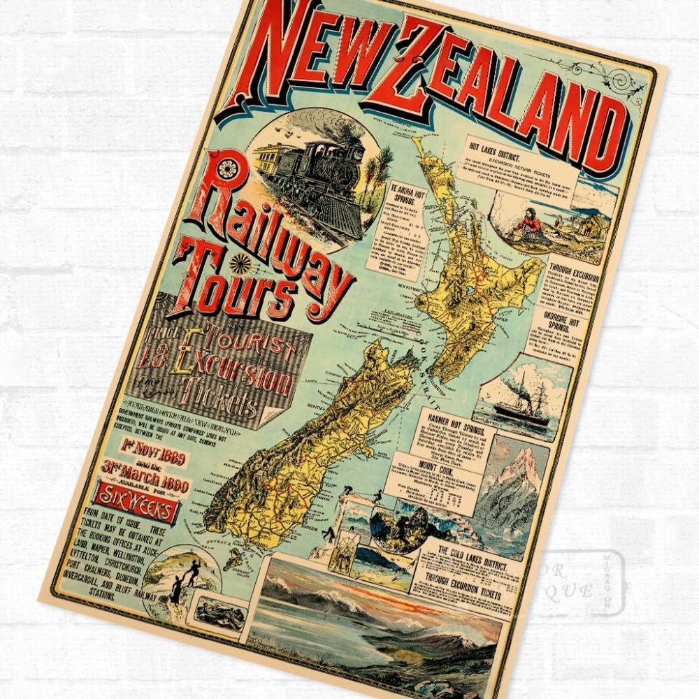NZ Nueva Zelanda mapa Maori viaje Vintage Poster Retro lienzo pintura DIY pegatinas de pared arte hogar carteles para Bar decoración regalo