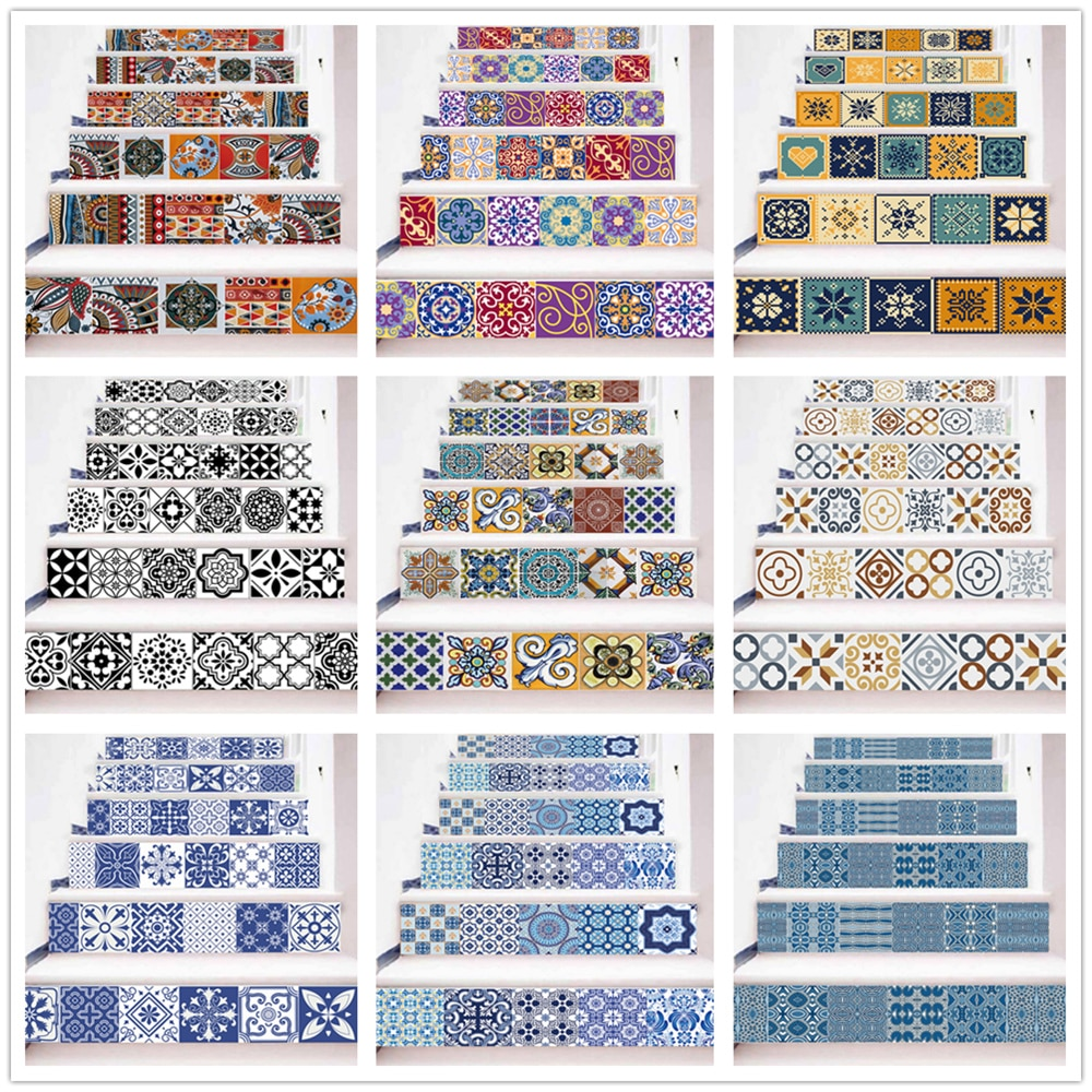 Self-adhesive Staircase Sticker Vinyl Colorful Landscaping Removable 3D Stairs Decoracion Escaleras