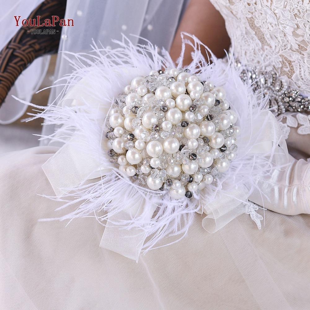 YouLaPan HF03 لؤلؤة كبيرة باقة الزفاف الأبيض ريشة الزفاف عقد الزهور الزواج اكسسوارات فاخرة العروس اليد زهرة