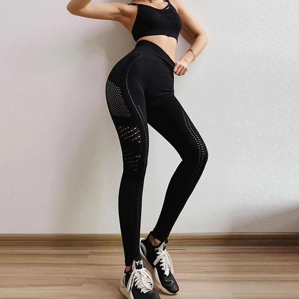 Mujeres transpirable de secado rápido alta cintura apretado estiramiento pantalones de Yoga...