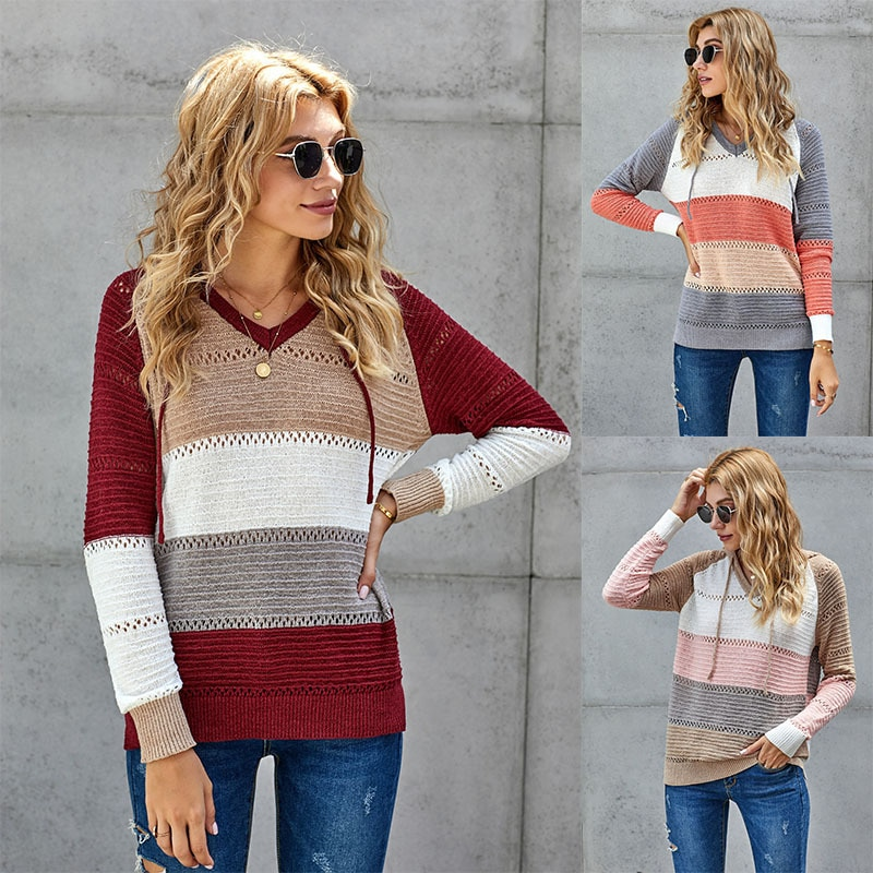 2020 euro-american sweater new autumn and winter loose-striped long-sleeved wool knitted sweater for women euro american simple round necked short sleeved chic port flavored elastic knitted dress with tight body and buttocks
