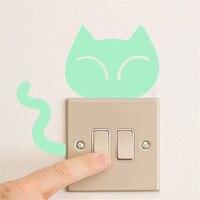 Cute Creative Kitten Cat Luminous Switch sticker Noctilucent Glow Switch Wall Sticker Wall Art Home Decoration for Kids Gifts