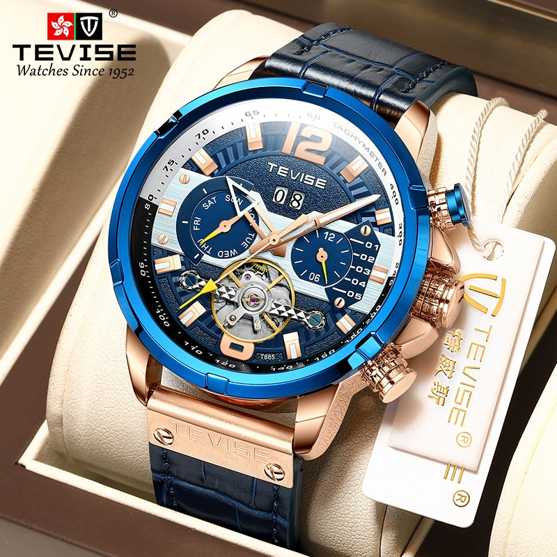 TEVISE Mens Watches Top Brand Luxury Automatic Mechanical Watch Men Fashion Tourbillon Wristwatch Wa