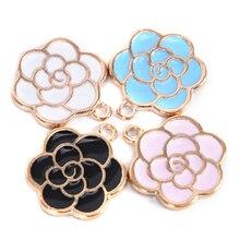 10 unids/set dijes de flores esmaltados para Pendientes colgantes collar hallazgos de joyería artesanal DIY brazalete pulsera