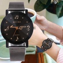 Femmes montres musique Note seconde main montre décontracté en cuir Quartz robe montre femme saint valentin horloge cadeau Relogio Feminino