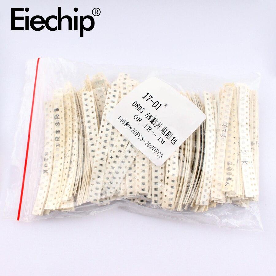 2920pcs/lot 0805 / 1206 SMD resistor assorted kit set 0R 1R-1M ohm 5% SMD Electronic resistors pack 10K 100K assortment kit