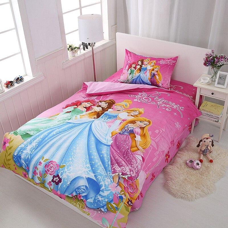 Disney Rapunzel Cinderella طقم سرير الأميرة ، غطاء لحاف ، ملاءة سرير ، كيس وسادة ، مقاس واحد ، شحن مباشر