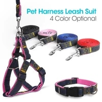 denim sewn pet dogs harness leash collar suit safe universal seat belt vest adjustable personality for small medium big dogs