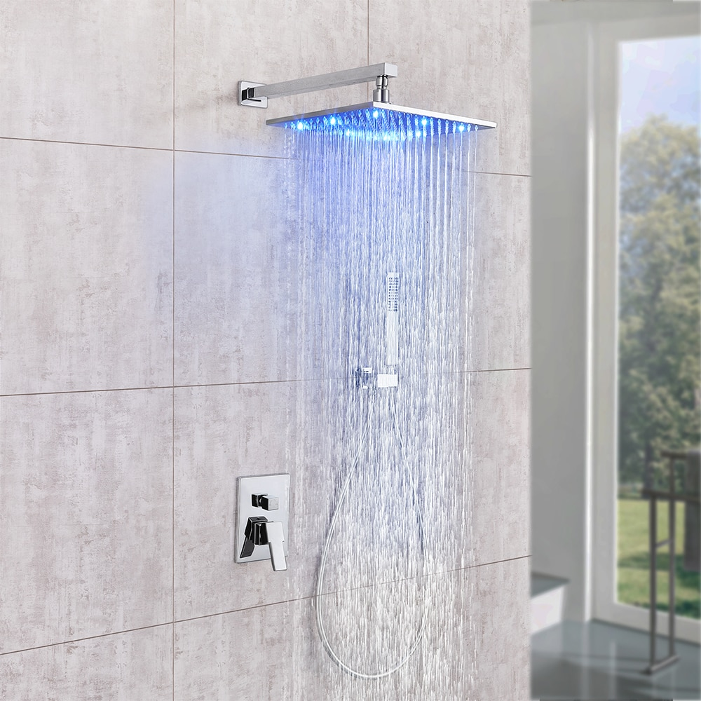 Skowll Copper Two-Function Horizontal Tube Concealed Shower Set Chrome Bathroom Led Temperature Cont