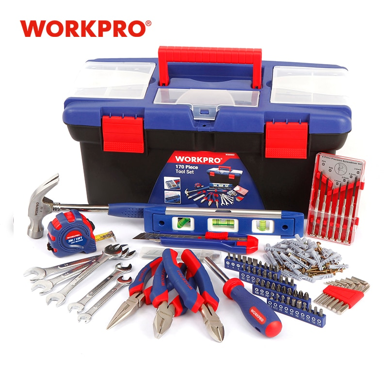 WORKPRO 170PC Home Tool Set car repair Tool Kits hand tools set wrench plier screwdriver set plastic tool box set