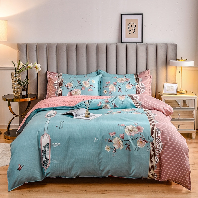 Elka نحى نمط النبات طقم ملاءة سرير الكشمير أربع قطع أغطية سرير غطاء أوقيانوسيا
