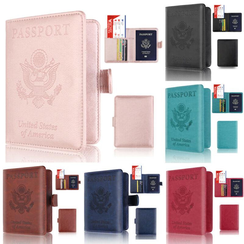 Funda para pasaporte para hombre y mujer, funda billetera corta, protección RFID, Protector fino de documentos seguro