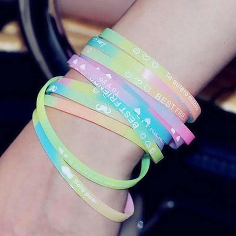 Wholesale10pcs pulsera de neón luminoso fluorescente del pulseras de silicona pulsera gominolas dulces diadema Unisex brazaletes de caucho