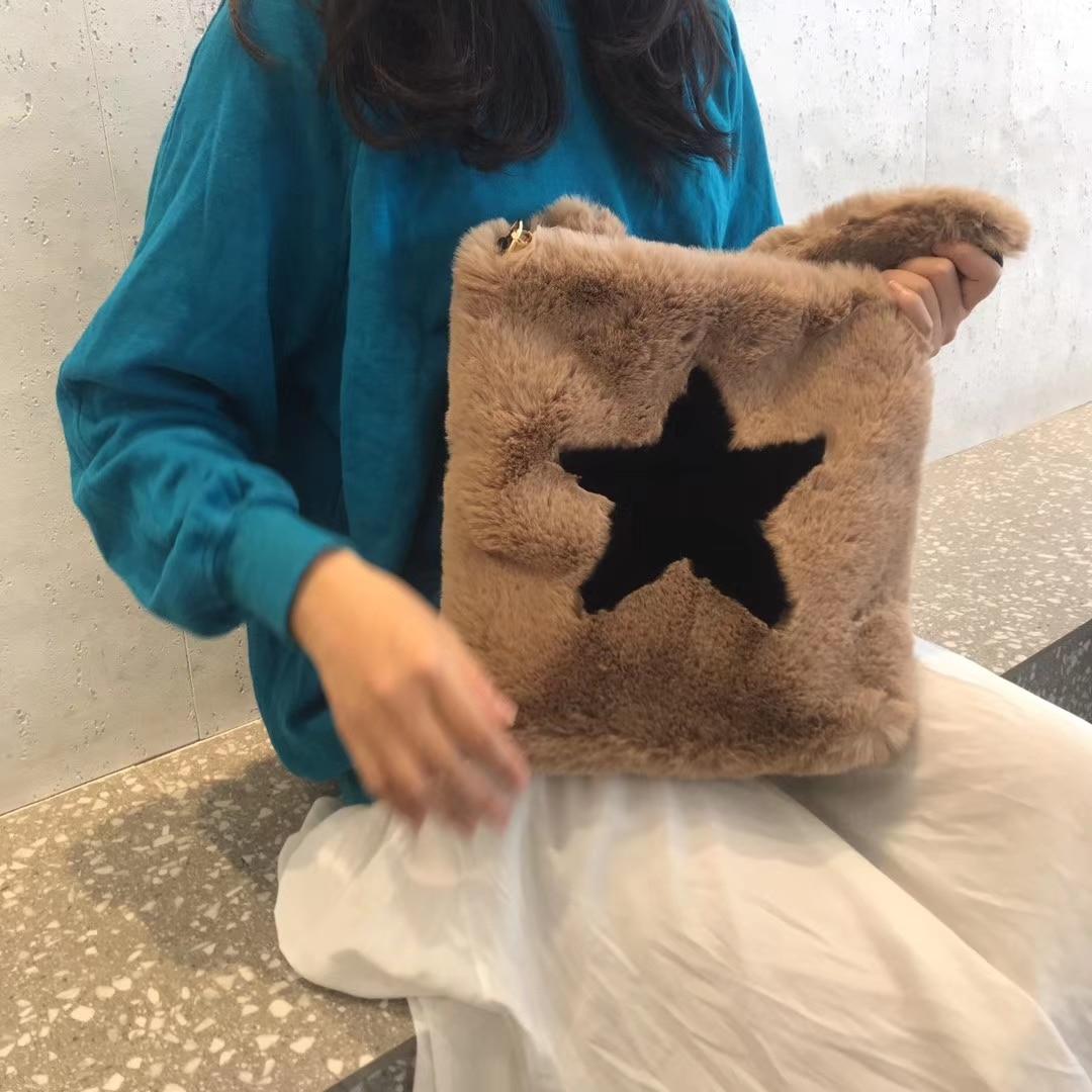 Winter Fashion Plush Faux Fur Tote Handbags Star Pattern Soft Llightweight Sling Shoulder Bags and Purses