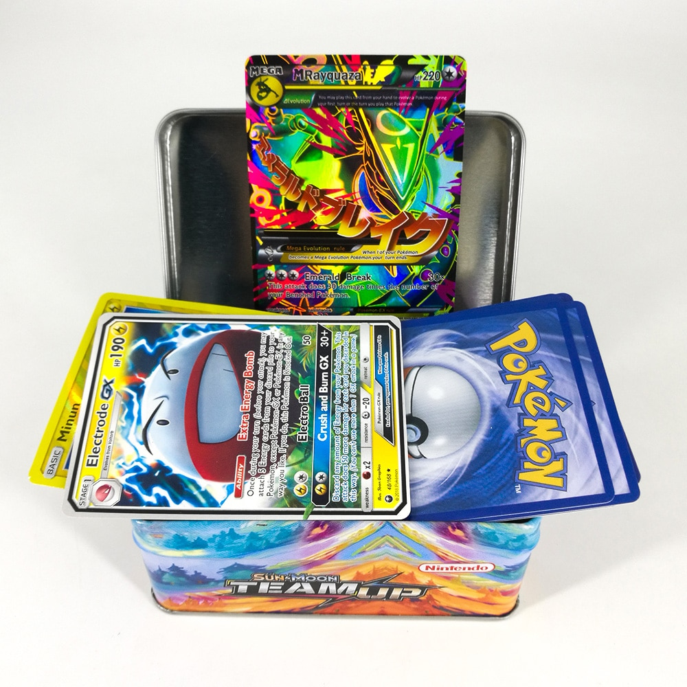 Takara Tomy Pokemon Card MEGA Trainer Energy SUN MOON TEAM UP Collection Board 42 Cards Toys Flash Card Metal Box for Kids недорого