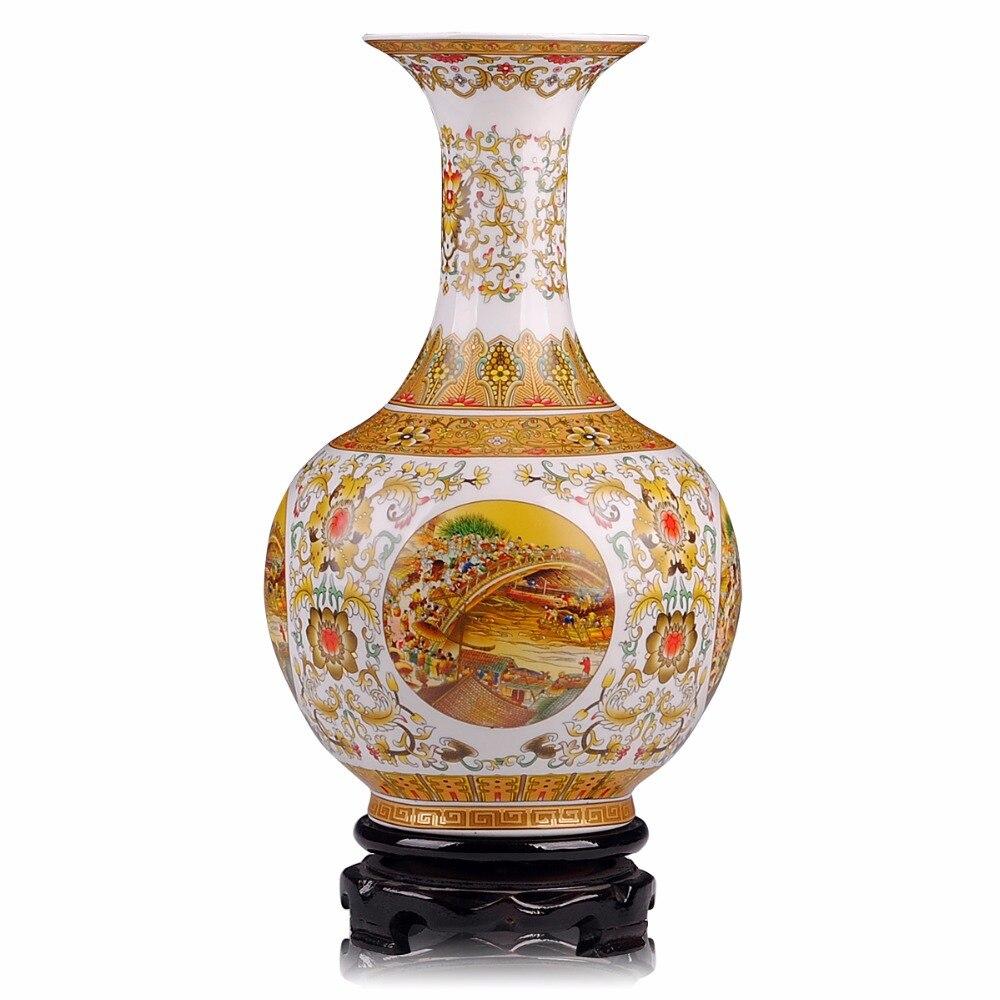 Jingdezhen antigo ouro grande tamanho vaso riverside cena no festival qingming vasos chineses