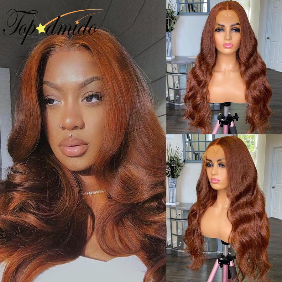 TOPODMIDO Brown Color 13x4 Lace Front Wigs with Baby Hair 26 inch Brazilian Remy Human Hair Wig for Women 4x4 Closure Wigs